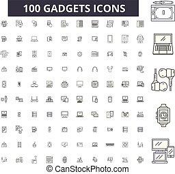 Gadgets editables iconos de línea, 100 vectores, colección. Gadgets ilustraciones negras, señales, símbolos