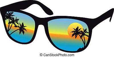 Gafas de sol con sol de mar
