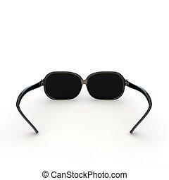 Gafas de sol con un marco de plástico negro en un fondo aislado blanco