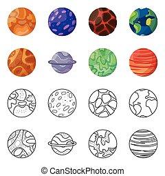 galaxia, ilustración, órbita, illustration., cosmos, vector, colección, icon., acción
