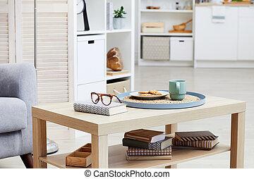 galletas, habitación, tabla, té