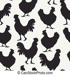 gallinas, pattern., siluetas, gallo, seamless, patrón, fondo., negro, aves, blanco, vector