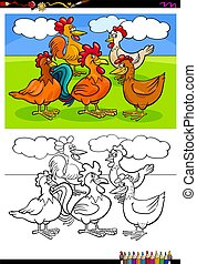 Gallinas y gallos personajes de grupo de color