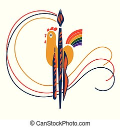 gallo, cola, arco irirs