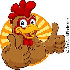 gallo, pollo, caricatura, gallo joven, carácter