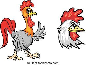 gallos, caricatura, colorido