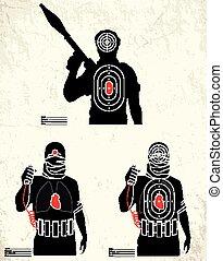 gama, disparando, -, terrorista, blanco