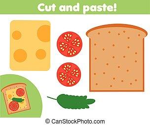 game., marca, corte instrumentos de crédito, educativo, pegamento, sanwich, tijeras, niños, creativo, activity.