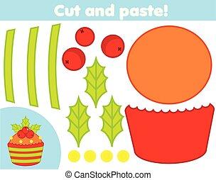 game., marca, cupcake, papel, corte, nuevo, educativo, navidad, pegamento, tijeras, niños, creativo, año, activity.