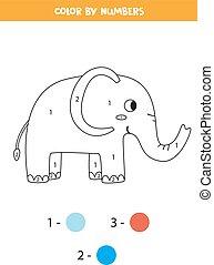 game., matemáticas, numbers., lindo, printable, color del elefante