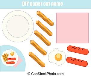 game., placa, marca, corte, corte instrumentos de crédito, alimento, pasta, worksheet., educativo, diy, glue., niños, activity.