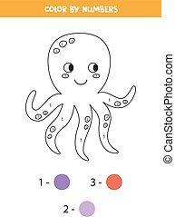 game., pulpo, matemáticas, numbers., lindo, printable, color