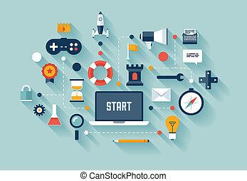 Gamificación en la ilustración del concepto de negocios
