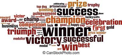 ganador, palabra, nube