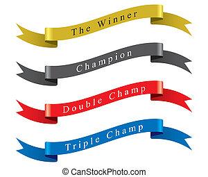 ganador, vector, conjunto, campeón, cinta