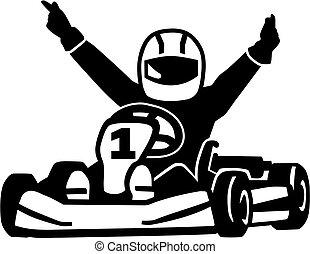 ganando, kart, corredor