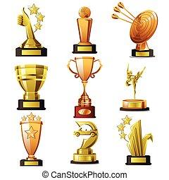 ganando, oro, diseños, trofeo