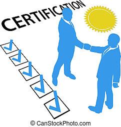 ganar, conseguir, funcionario, certificación, documento, certificado