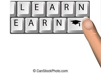 ganar, llaves, graduación, computadora, aprender, educación