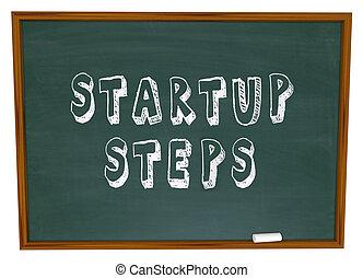 ganar, palabras, empresa, dinero, compañía, inicio, escuela, empresa / negocio, tiza, pasos, tabla, aprendizaje, nuevo, sobre, educación, principio, o, lanzamiento, ilustrar