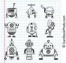 garabato, conjunto, robot, iconos