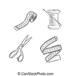 garabato, costura, herramientas, ilustración, vector, bosquejo, kit