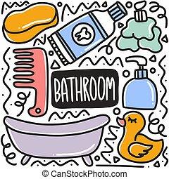 garabato, cuarto de baño, dibujado, conjunto de mano, equipo