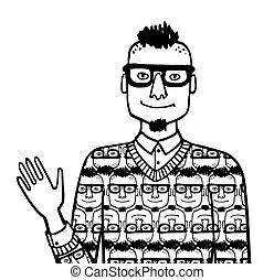 garabato, egocéntrico, hipster., bosquejo