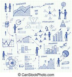 garabato, elementos, gráficos, empresa / negocio, infographics