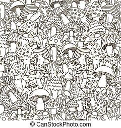 garabato, hongos, negro, fondo blanco, seamless, pattern.