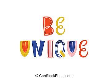 garabato, illustration., camisa, de motivación, mensaje, inspirador, niños, print., saying., vector, positivo, colorido, ser, dibujado, único, mano, cita, optimista, lettering., estilo, frase, white., t, aislado