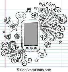 garabato, teléfono celular, vector, diseño, pda