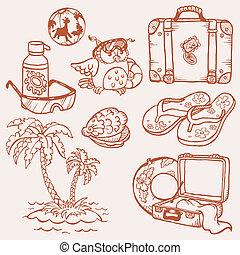 Garabatos marinos, colección dibujada a mano en vector