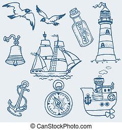 Garabatos náuticos, colección dibujada a mano en vector