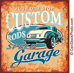 garaje, clásico, barra, costumbre