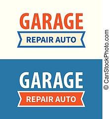 Garaje, reparar el letrero de servicio automático en el fondo blanco y azul oscuro, diseño de placas Vectoras del emblema de Garage.