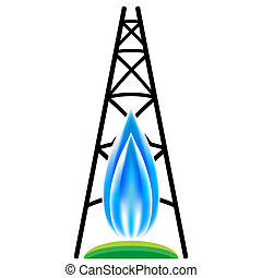 gas natural, fracking, icono