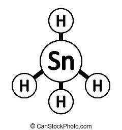 gas, scannan, icon., molécula