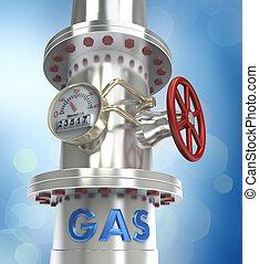 gas, tubería, concepto, -