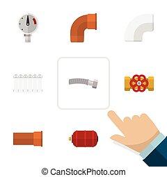 Gasoducto de icono plano conjunto de radiador, válvula de la bomba, yeso y otros objetos vectoriales. También incluye flange, agua, elementos de drenaje.