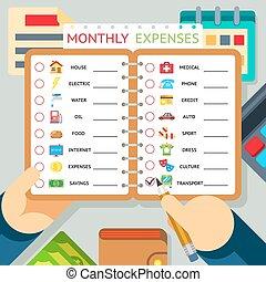 Gastos mensuales, costos y vectores de ingresos plantilla