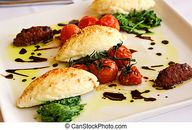 gastrónomo, cena, gnocchi, italiano