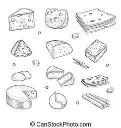 gastrónomo, granja, orgánico, sano, drawn., leche, colección, mano, cortar, cocina, sabroso, vector, producto, queso