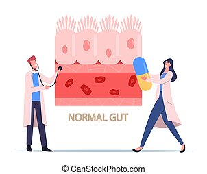 gastrointestinal, sano, presentación, normal, estetoscopio, tracto, caracteres, intestinal, doctors, células, píldora, diminuto