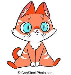 gatito, rojo, azul, vector, eyes., grande