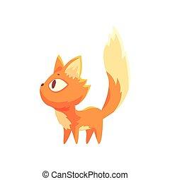 Gatito rojo divertido, lindo dibujo animado vector de caracter de gato Ilustración