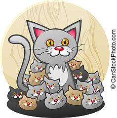 gatitos, basura, gato, madre
