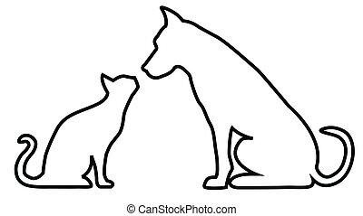 gato, composición, perro