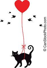 Gato con globo cardíaco