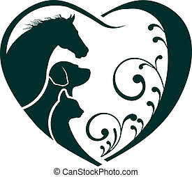 gato, corazón, amor, caballo, logotipo, perro
